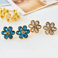 Wholesale Blue Enamel Flower Earrings - New Women's fashion brand jewelry droplets blue crystal earrings wholesale ear clip earrings wedding flowers