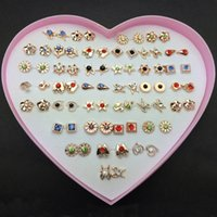 Wholesale Small Stud Earrings Animals - 36Pairs lot Heart Box Mix Designs Randomly Small Gold & Silver Fashion Kids Girls Stud Earrings For Women Jewelry