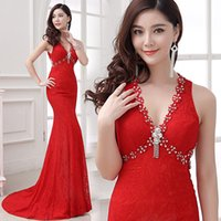 Wholesale Piercing Images - Elegant Evening Dress 2017 Long Prom Sexy Lace Party Costume Red V-Neck Slim Pierced Mermaid Open Back Banquet Formal Dresses