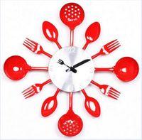 Wholesale Originality Clock - Wholesale- Gift!wall clock Knife Fork Spoon Originality clock Kitchen Restaurant The wall Decoration quartz metal times mute hour wz01