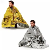 Wholesale Thermal Pet Blanket - Emergency Blanket PET Aluminizer Camping Thermal Waterproof Shelter Rescue Tent Insulation Foil Blanket Retain Body Heat Outdoor Survival