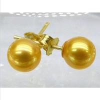 Wholesale pearl earring stud akoya gold - LUXURIOUS 10-11mm AAA+++ GOLD Perfect Round AKOYA PEARLS EARRING 14K