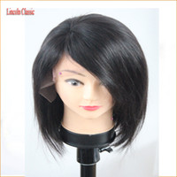 Wholesale Brown Layered Hair - Layered Human Hair Short Bob Wigs For Black Women Glueless Lace Front Human Hair Bob Wig With Side Bangs Full Lace Short Wigs
