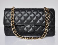 Wholesale Genuine Silver Chains - Top quality 1113 Double Flap Bag Black Genuine Caviar Leather Quilted chain Bag with Gold Silver Hardware Women's Messenger Bag