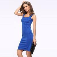ingrosso vestito blu dalla signora indietro-Vestito da partito dalla parte posteriore della chiusura lampo dei vestiti blu delle donne di stile delle donne di stile della via delle celebrità del collare del vestito sexy senza maniche del collare Trasporto libero