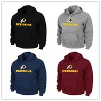Wholesale Redskins Red - Best Quality Men's American hoodies Washington RedSkin Pro Line clothes black grey Sports Style sweatshirts Free Shipping