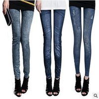 Wholesale 14 Slim Jeans - 14 Designs Women Fashion Legging Faux Denim Jeans Ladies' Skinny Leggings Pencil Pants Slim Elastic Stretchy Leggings CCA5687 200pcs