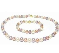 Wholesale Beautiful Culture - Beautiful 8-9mm Multi-color Cultured Pearl Necklace 18 inch 14k gold free Bracelet