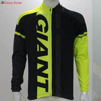 Wholesale Giant Thermal Fleece Jersey - 2017 Giant new winter Thermal Fleece cycling jersey men fluo yellow and black Long Breathable Clothes cycling sportswear pro cycling jersey