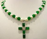 cruz de jade branco venda por atacado-Frete Grátis *** New white pearl green jade colar de pingente de cruz