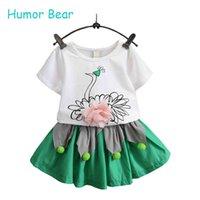 Wholesale Bear Grils - Wholesale- Humor Bear Grils Fashion Clothing Sets 2016 Brand Girls Clothes Kids Clothing Sets Swan T-Shirt + Short 2Pcs Suits