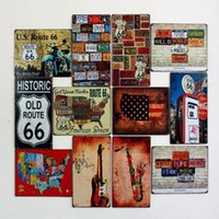 Wholesale x30cm ROUTE Gasoline Station vintage tin sign home pub bar wall decor plaques signs metal painting
