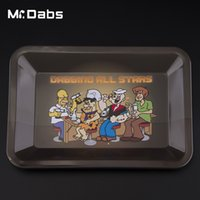 Wholesale L Smoke - Retail Rolling Tray dabbing all stars Trays with S L size Metal Pallet with cute style for Smoking Accessories free shipping