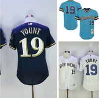 timeless design cfacc ddd23 milwaukee brewers 19 robin yount white pinstripe pullover ...