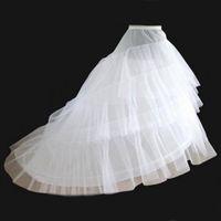 petticoats unterrock großhandel-Braut Petticoat Weiß A-Line 3 Schichten 2 Hoop Zug Sweep Slip Brautkleid CrinolineSkirt Unterröcke für Hochzeit Ballkleider Pageant Kleid