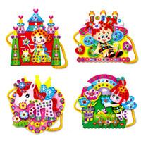Wholesale Kids Handbag Pattern - Wholesale- 1Pcs Colorful Kids Baby Assembly Toy EVA Cartoon DIY Handmade Handbag Bag Diamond Educational Toys for Girls Random Pattern