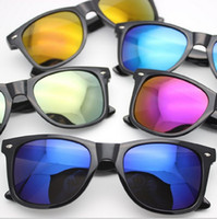 Wholesale Large Framed Mirrors Wholesale - Matte Finish Reflective Color Mirror Lens Large Square Horn Rimmed Sunglasses Retro Matte Flash Colored Lens Sunglasses for Men Women