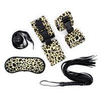 Wholesale Adult Leopard Masks - SM Bondage Restraint Set Leopard 5 PCS Soft Handcuffs Ankle cuffs Mask Gag Whip Adult Sex Game Toy