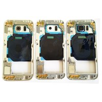 Wholesale metal frame galaxy s6 online – custom For Samsung Galaxy S6 G9200 G920F Bezel Metal Middle Housing Frame Chassis Parts With Side Button Single SIM Dual SIM Card Model