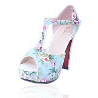 Wholesale Heels Retro White - Extreme high heels sandals summer hot retro cotton prints upper chunky heels women platform sandals YonDream-162