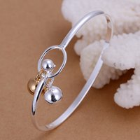 Wholesale Silver Ball Bangle - New Sliver Plated Fashion Womens Elegant Bangle Bracelet Silvery and Golden Bell Beads Balls Charms Bracelet Ladies Girl Jewelry Wholesale