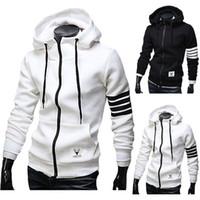 männer s weiße jacke großhandel-Großhandels- Männer Hoodies Sweatshirt beiläufige männliche mit Kapuze Jacke Langarm schlanke Design Mens Zipper Hoodie schwarz / weiß Farbe mit Tasche