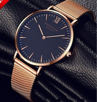 Wholesale Thin Red Dress - Mens Top Brand Luxury Fashion Watch Men Ultra Thin Gold Steel Mesh Watches Man Dress Quartz Lovers Watch orologio uomo