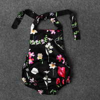 Wholesale Girls Sleeveless Onesie - Baby Girls flower halterneck romper cute floral bowknot baby onesie ins hot summer outifts toddler clothing for 0-2T