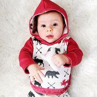 Wholesale Bear Arrows - 2017 Ins Hot Baby Arrow Bear Clothing Sets Long Sleeve Red Deer Printed Hoodie Tops + Long Pants 2pcs newborn baby christmas outfit