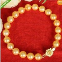 Wholesale Genuine Cultured Pearls - GENUINE AAA 10-11MM NATURAL GOLDEN SOUTH SEA CULTURED PEARL BRACELET 7.5-8''