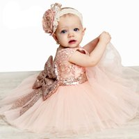 Wholesale Organza Rose Bow - Flower Girl Dresses Rose Girl Dress with Headdress Sequins Lace Flower Girl Dresses Back Bow Belt Baby Dress