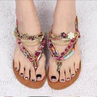 Wholesale Sandals Diamond Beads - 2017 fashion leisure diamond beads sweet pinch flat sandals Bohemian sandals women sandals