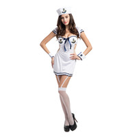 Wholesale Fun Sexy Costumes - White Sailor Suit Free Size Navy Loaded Stage Equipment Fun Suit Sexy Underwear Bar DS Service