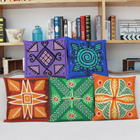 Wholesale Combination Sofa - Ancient pattern cushion cover exotic color combination square pillowcase bright printing linen fabric with zipper washable sofa decoration