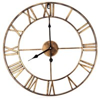 Wholesale oversized art - Wholesale-18.5 Inch Oversized 3D Iron Decorative Wall Clock Big Art Gear Roman Numerals Design The Clock On The Wall