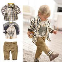Wholesale Kid Boy Denim Shirt Wholesale - 3pcs baby boys autumn winter style factory outlet children fashion denim pants t-shirt kids clothing set outfit 0901244