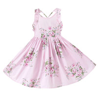 Wholesale Sweet Pink - Everweekend Girls Summer Floral Dress Ruffles Halter with Backless Sweet Party Dress Cotton Children Pink and Blue Dress Can Mix Size