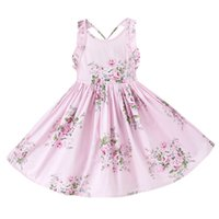 Wholesale Knee Length Halter Neck Dresses - Everweekend Girls Summer Floral Dress Ruffles Halter with Backless Sweet Party Dress Cotton Children Pink and Blue Dress Can Mix Size