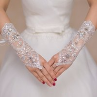 Wholesale Beads Ship Free - Crystals Beaded Wedding Gloves 2017 Lace Pascoa Shorter than Opera Length Free Size Bridal Glove Fast Shipping In Stock