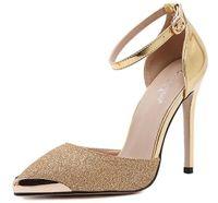 yeni stil altın ayakkabı topuklu toptan satış-US4-9 Yeni stil kadın seksi yüksek topuklu Sivri Burun Ince Topuklar Payetli Toka Askı Parti kadın ayakkabı Altın Gümüş
