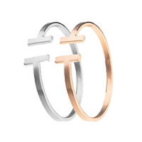 mesh gold armreif großhandel-Top Qualität Edelstahl Modeschmuck C Mesh Manschette Armbänder Armreifen Doppel T Geformt Armreifen Für Frauen