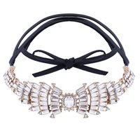 Wholesale Wing Heart Necklace Diamond - hot sale Fashion women jewelry Diamond bow wings Pu leather full rhinestone glittering luxury short collar choker necklace