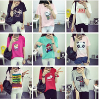Wholesale Hundreds Clothing Wholesale - Hundreds of Designs WHOLESALE Summer T-shirt Women Casual Lady Top Tees Cotton Tshirt Female Clothing T Shirt Printed Top Cute Tee