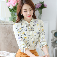 Wholesale puff sleeved blouse - 2017 Spring Summer New Women Tops Lace Floral Shirt Long Sleeved Chiffon Female Stand Collar Printing Work Wear Plus Size Blouse