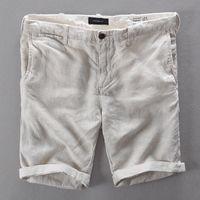 Wholesale Knee Length Linen Trousers Mens - Wholesale- 2017 New Brand Shorts Men Linen Short Pants Mens Casual Apricot Solid Men Shorts Fashion Loose Short Trousers Men Bermuda 29-38