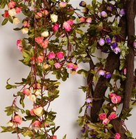 Wholesale Silk Flower Leaves Hanging - 220cm Fake Silk Roses Ivy Vine Artificial Flowers With Green Leaves For Home Wedding Decoration Hanging Garland Decor G503