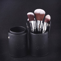 Wholesale Makeup Brush Cup Case - 12pcs lot SIGMA Makeup Tools Brushes Fashional Cosmetic Brush set kits 5 Colors Facial Make up brushes with Cup Holder Case 170714