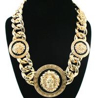 europa colares venda por atacado-Liga de alta qualidade pingente de óleo de gotejamento cabeça de leão colar fêmea nova moda Europa e American tipo de jóias