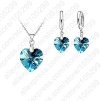 Wholesale Earring Lever Back Set - Wholesale- PATICO One Set Austrian Crystal 925 Sterling Silver Jewelry Heart Pendant Necklaces Lever Back Earrings Woman Accessories Gift