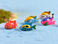 Wholesale Miniature Fish - Fairy Garden Miniature Tropical Fish assorted artificial mini fish decors resin crafts bonsai decors 3cm